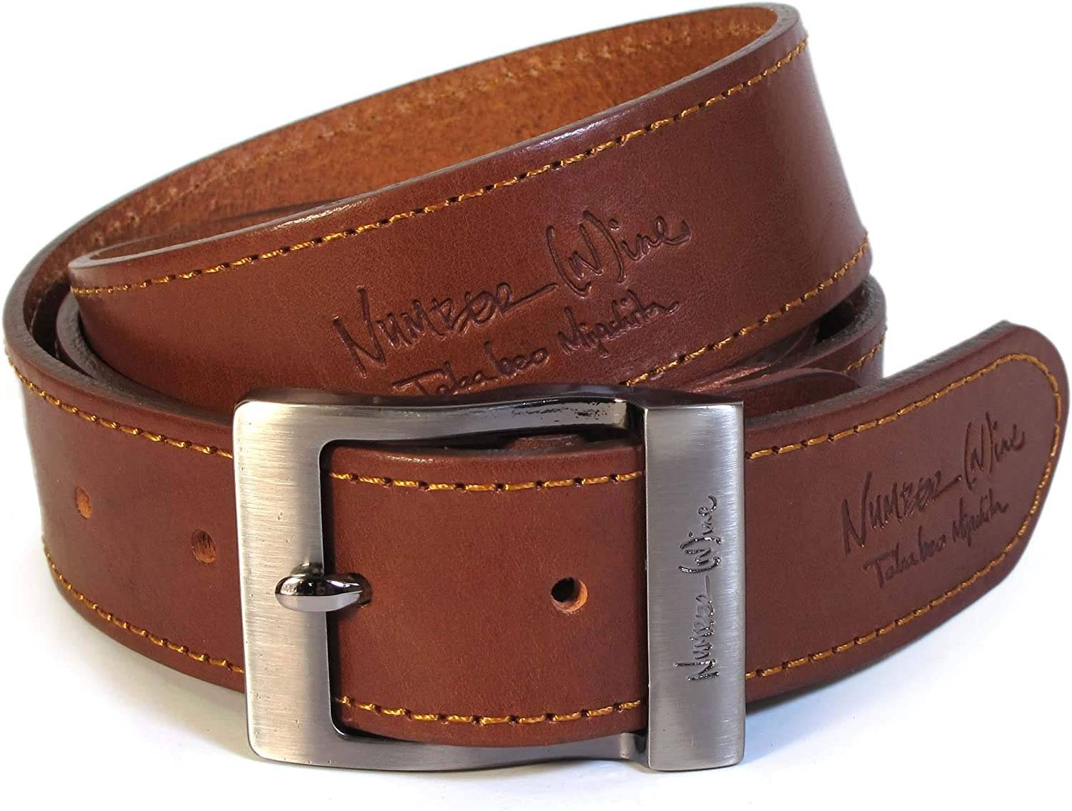 CM3 Mens Real Genuine Leather Tan Brown Belt 1.5 Wide S-XL Thick Casual Jeans