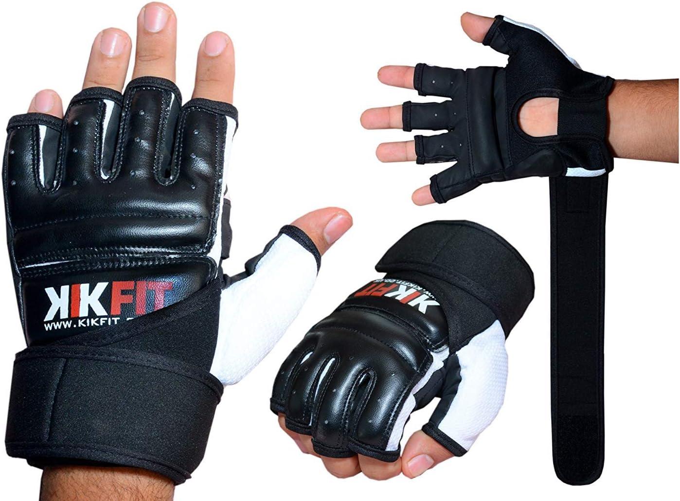 kikfit Cuir Noir Corps entra/înement Gel Gants MMA BOXE SAC DE FRAPPE arts martiaux