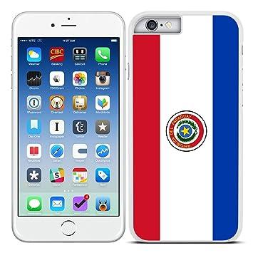 Funda carcasa para iPhone 6 6S diseño Bandera Paraguay borde blanco