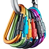 Banner Bonnie Pack of 6pcs Aluminum Carabiner D-ring Key Chain Clip Hook for Home, RV, Camping, Fishing, Hiking, Traveling and Keychain