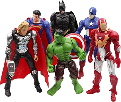 6pcs//lot Avengers figures super hero toy doll baby hulk America thor Iron man