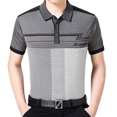 Hombre Moda Raya Camiseta para De Verano Flojo Apto Transpirable ...