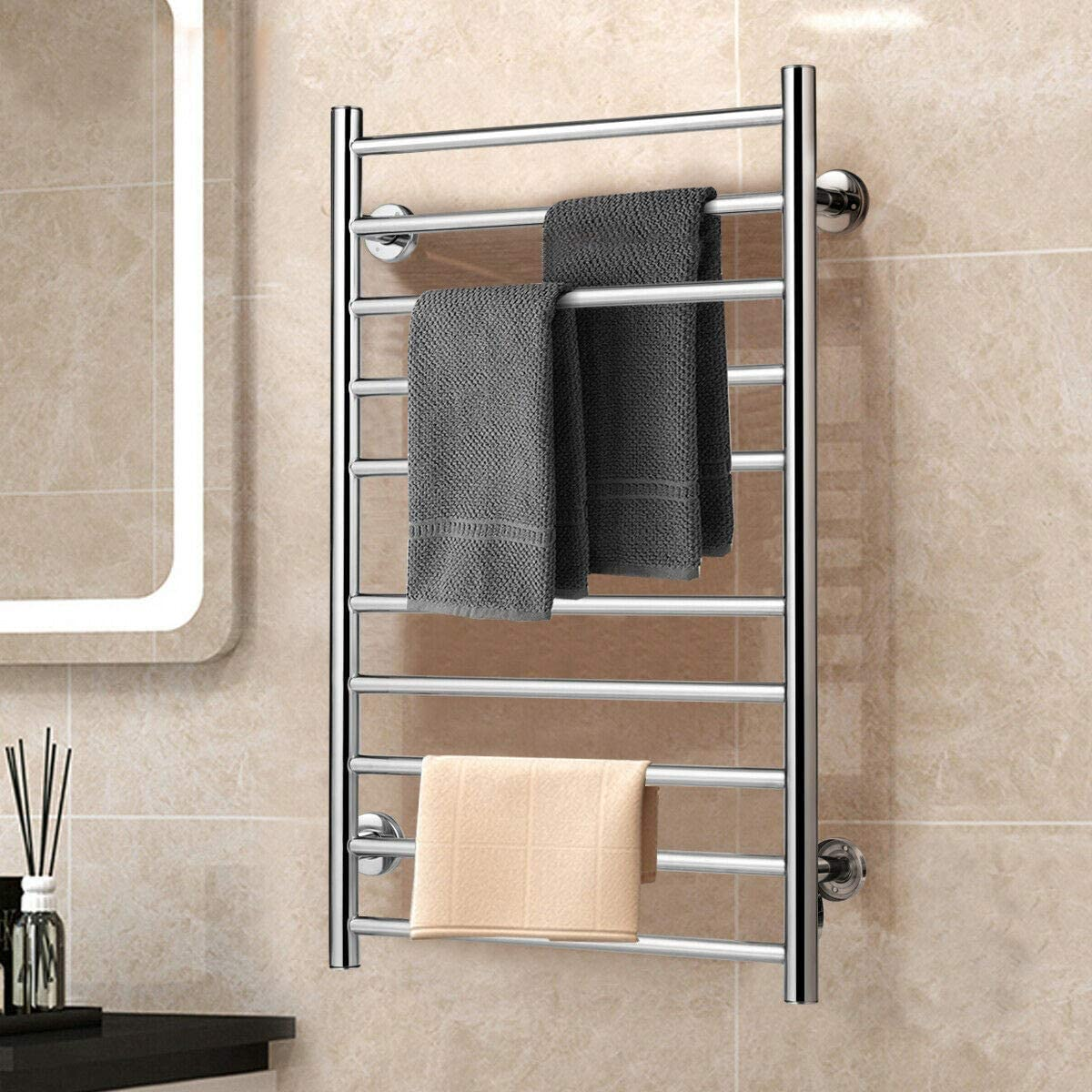 BestComfort Wall Mounted Heated Towel Warmer, 10 Bars Stainless Steel Polished Towel Warmer Drying Rack