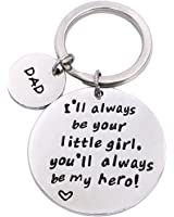 LParkin Father's Day Keychain - I'll Always Be Your Little Girl.You Will Always Be My Hero Keychain, Stainless Steel