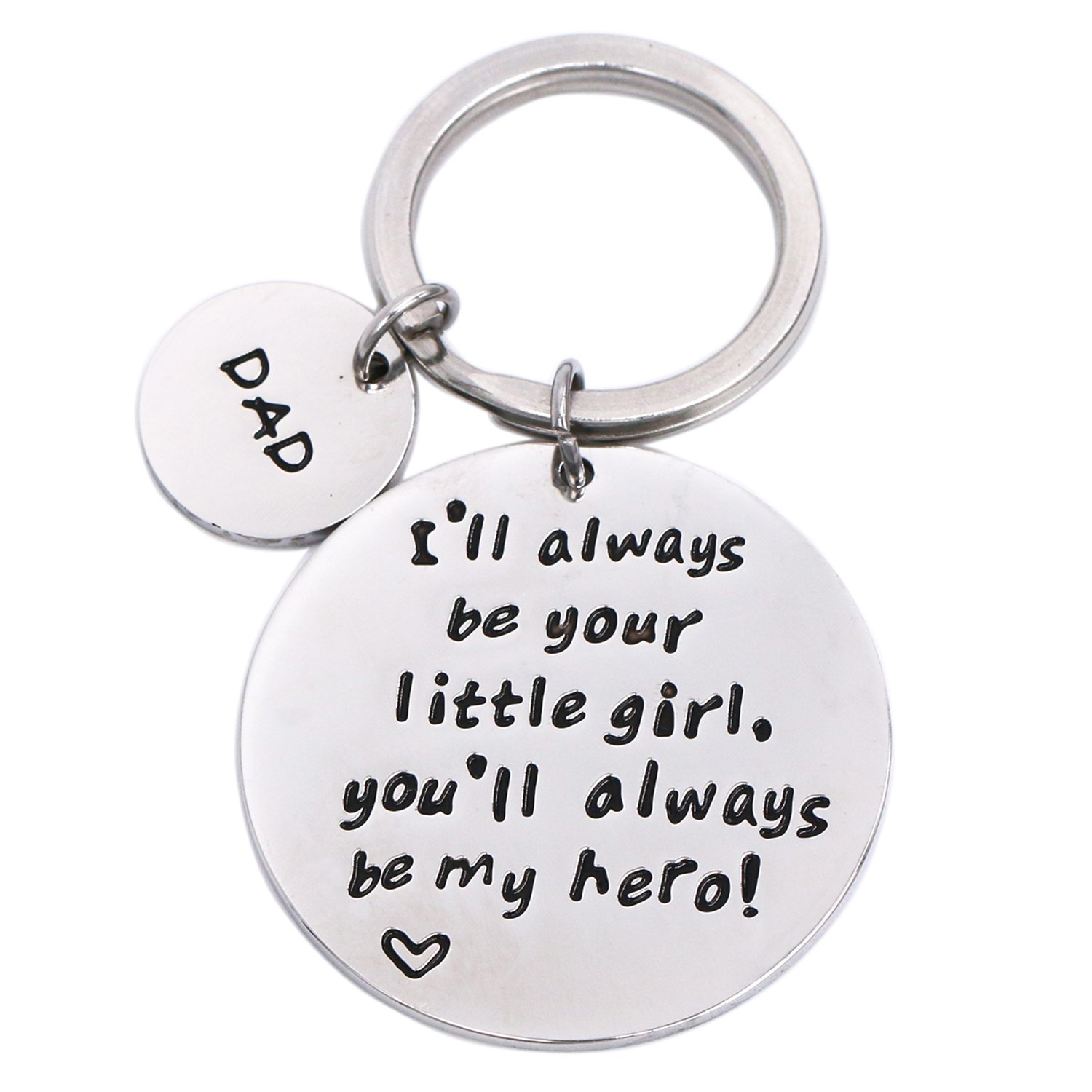 LParkin I'll Always Be Your Little Girl.You Will Always Be My Hero Keychain, Stainless Steel (White)