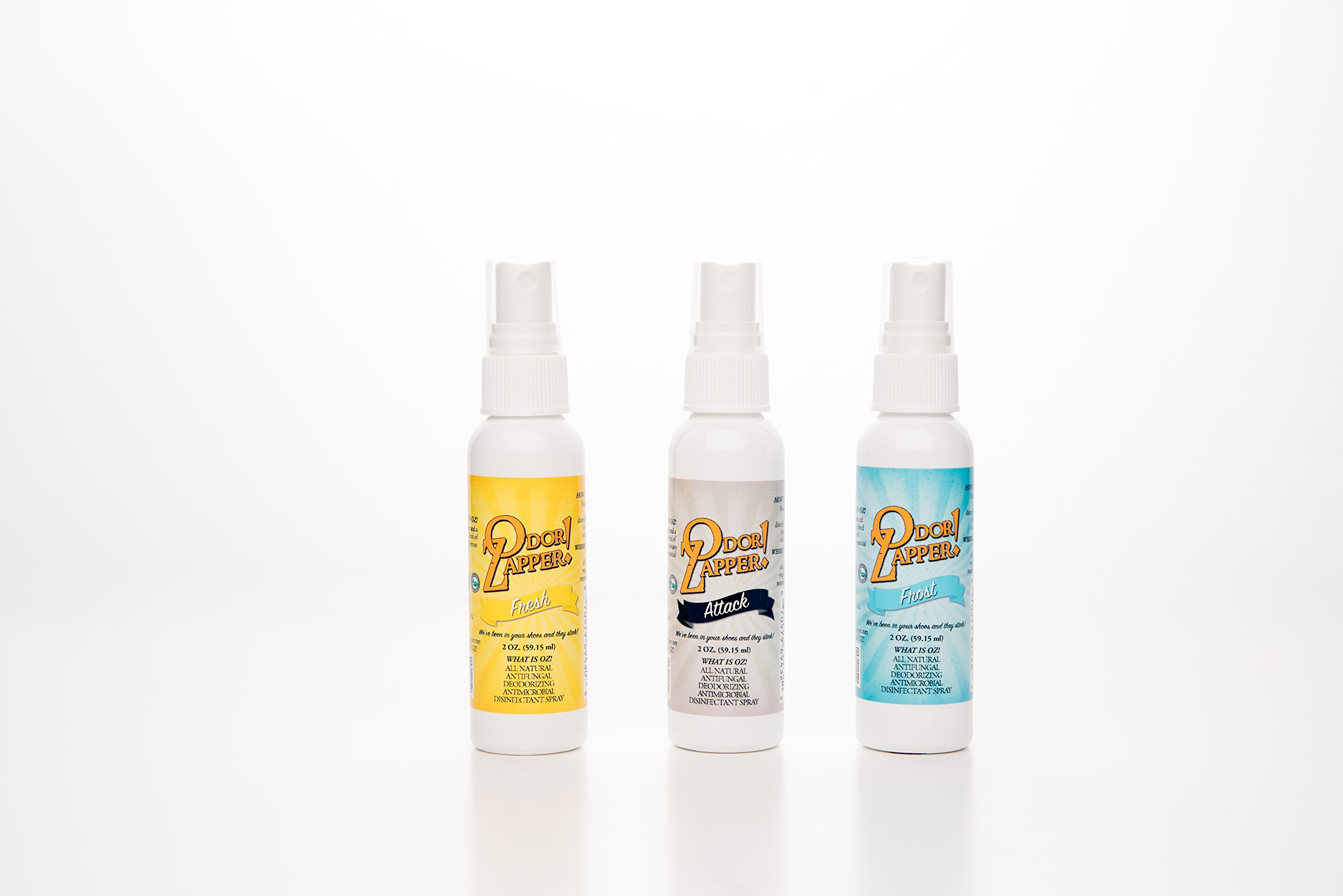 Odor Zapper Disinfectant Spray - For use in Shoes, Gym Bags, Yoga Mats, Kid's Cars and More! - ''Attack Pack'' - 3 Pack - 2 Ounce Bottles.