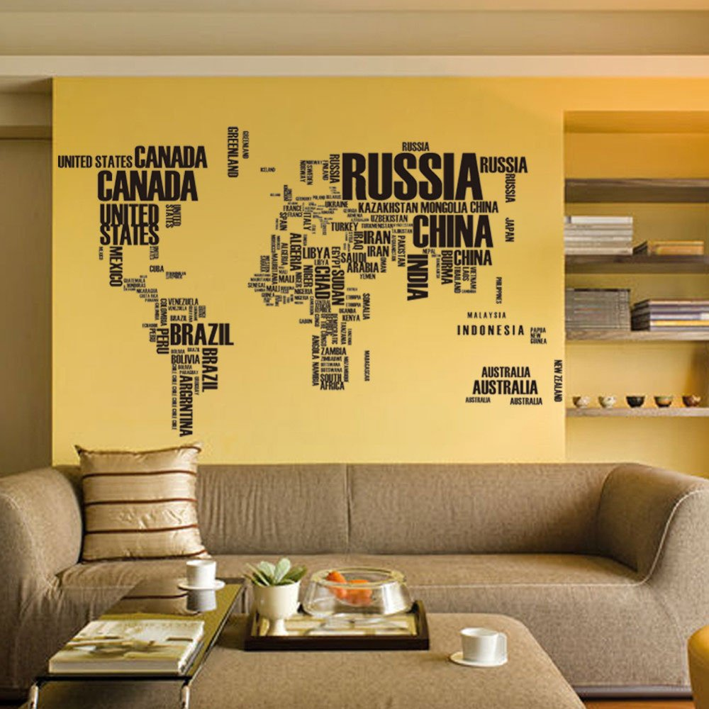 Amazon world map in country names vinyl wall decal for living amazon world map in country names vinyl wall decal for living room decor home kitchen amipublicfo Choice Image