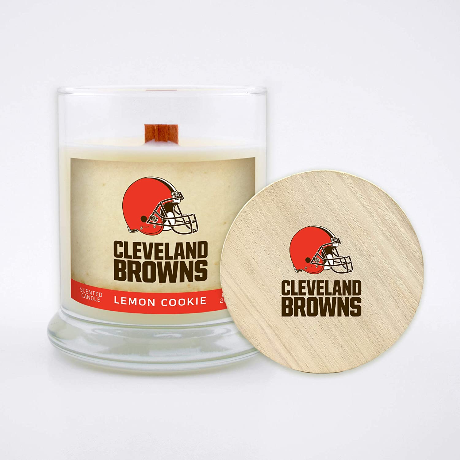 Lemon Cookie Worthy Promo NFL Cleveland Browns Gifts 8oz Scented Candle Soy Wax w//Wood Wick and Lid