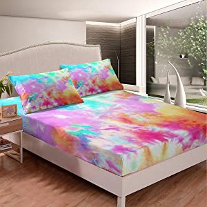 Colorful Tie Dyed Fitted Sheet Kids Tie Dye Bedding Sheet Set Orange Yellow Pink Blue Psychedelic Spiral Swirl Batik Boho Hippie Bed Cover Girls Teens Room Decor with 1 Pillow Sham(Rainbow,Twin)