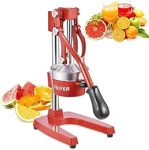 FRIFER Citrus Manual Juicer, Commercial Orange Juice Machine, Professional Fruit Hand Press Squeezer, Lemon Lime Pomegranate Fruit Extracter (Manual Juicers, Red)