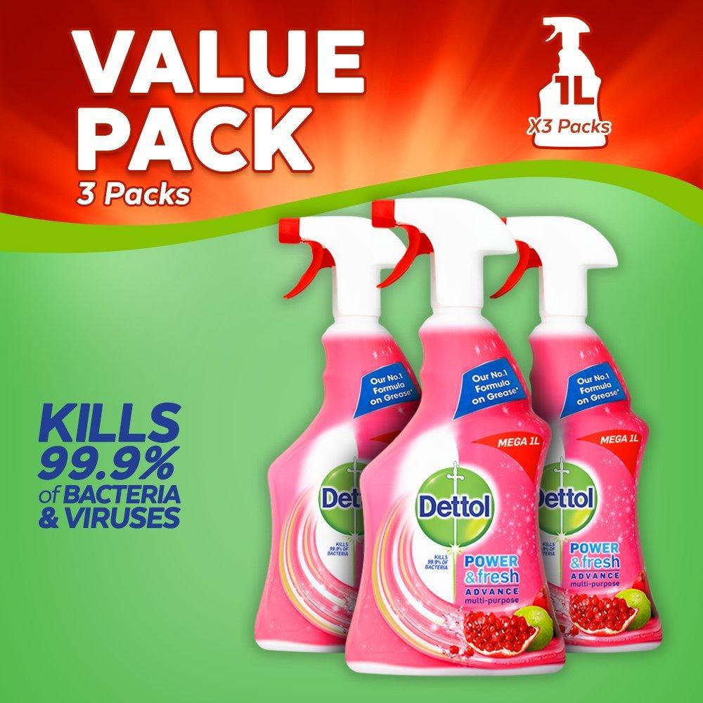 Dettol Power and Fresh Multi-Purpose Cleaning Spray, Pomegranate, 1 Litre, Pack of 3 Reckitt Benckiser