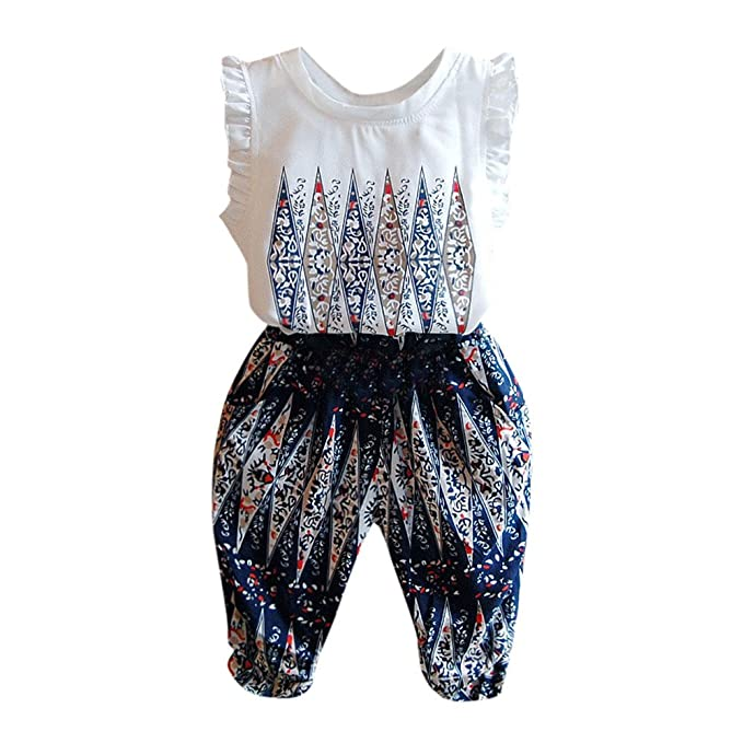 daebb0335 Amazon.com: Lurryly 2Pcs Toddler Baby Kids Girls Clothes Print Tops  Vest+Pants Set Outfits 2-6 T: Clothing