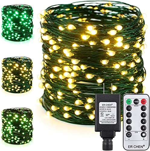 ER CHEN Color Changing LED String Lights Plug in with Remote, 72Ft 200 LEDs Green Copper Wire Fairy Lights 8 Modes Christmas Lights with Timer for Bedroom, Patio, Garden, Yard Warm White Green