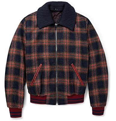 86ec1b2fa Dolce & Gabbana Leather-Trimmed Check Wool Bomber Jacket: Amazon.co ...