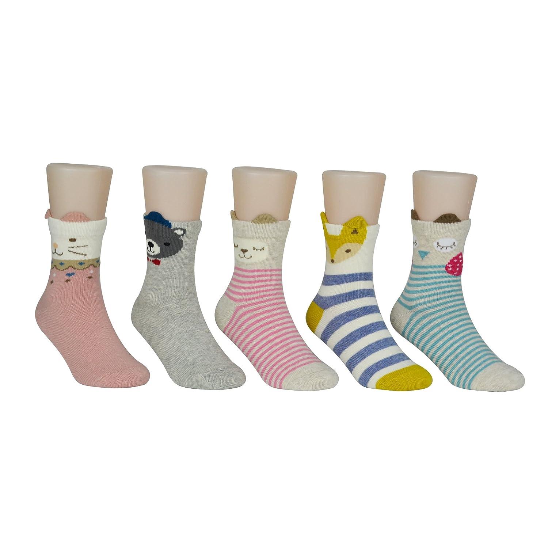 Afom Kid Girls Cute Funny Animal Cotton Ankle Crew Socks 5 Pairs