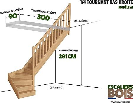 Escaleras de madera – Escalera 1/4 giratoria bajo de haya – Modelo Lyon – Ref. A1.: Amazon.es: Bricolaje y herramientas