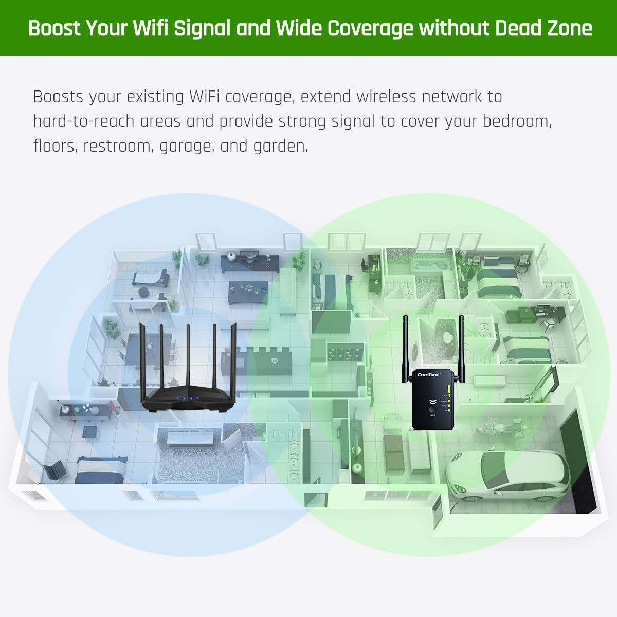 300Mpbs Wireless Booster with 2.4GHz High Gain Dual Antennas 2 Ethernet Ports Black WiFi Range Extender with WPS Internet Signal Repeater Compatible with Alexa Device for Covering Whole Home