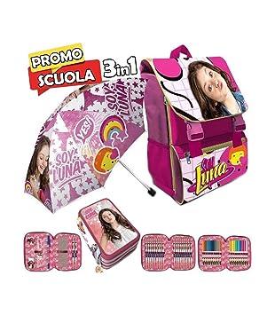 Trade Shop traesio® – Mochila Escolar Extensible Disney Soy Luna Kit Completo + Paraguas y