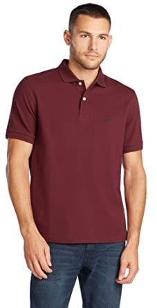 Nautica Mens Short Sleeve Solid Polo Shirt, Burgundy, L: Amazon ...