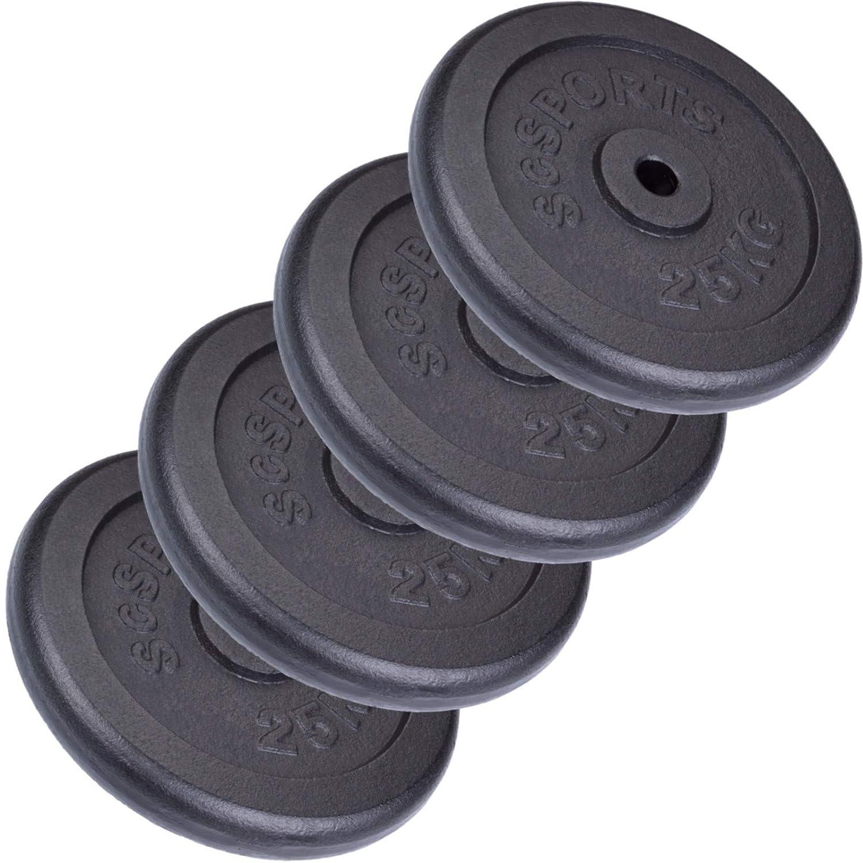 ScSPORTS 100 kg Hantelscheiben-Set 4 x 25 kg Gusseisen Gewichte 30/31 mm Bohrung, durch Intertek geprüft + Besteanden¹