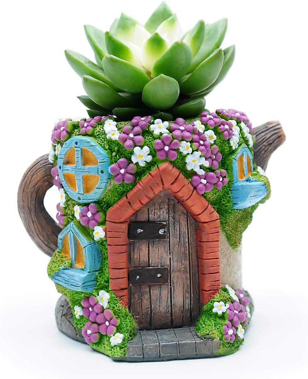 Magwen Succulent pots, Fairy Tale Succulent Garden Bonsai Decorative Flower pots, New Type Kettle House Cactus Indoor Plant Planting pots. (Kettle Brown)