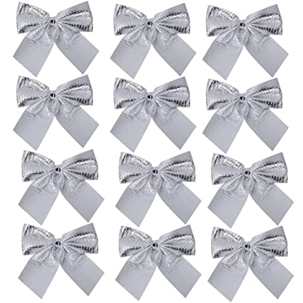 Christmas Tree Bows White.Demiawaking 12pcs Christmas Tree Bow Toppers Hanging Ornaments Pendant Decorations Bows For Presents Crafts Tree Card Making Xmas Decor Silver