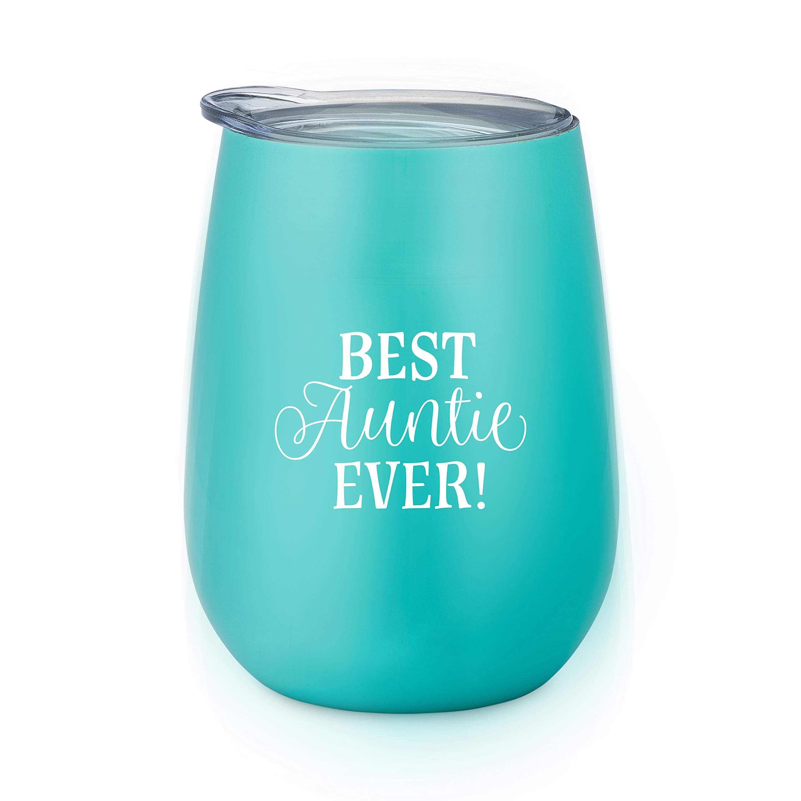 Best Auntie Ever - 10 oz Stainless Steel Stemless Wine Glass with Lid - Wine Tumbler Sippy Cup for Adults - Great Aunt Gift