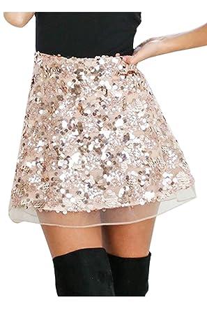 Yacun Paillettes Jupe Mini Décolleté Clubwear Femme dCBxoe