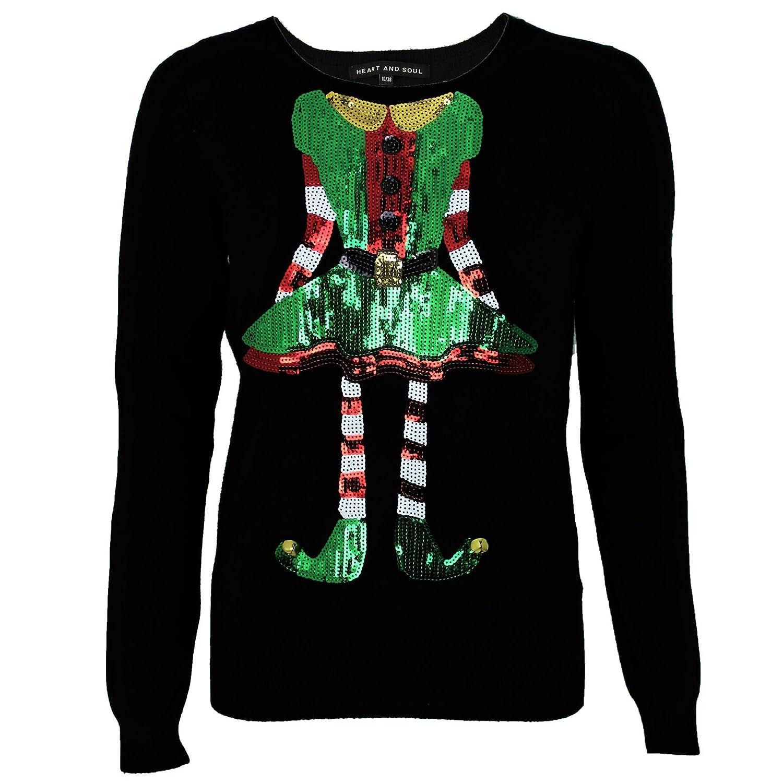 9991cf0175f Womens Ladies Christmas Elf Sequins Xmas Novelty Jumper Top By Heart & Soul