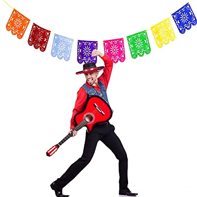AQUEENLY Multicolored Mexican Papel Picado Banner, Felt Picado Banner Flags on Mexican Party Decorations for Cinco De Mayo, Birthdays, Easter, Christmas, Fiesta Festivals: Arts, Crafts & Sewing