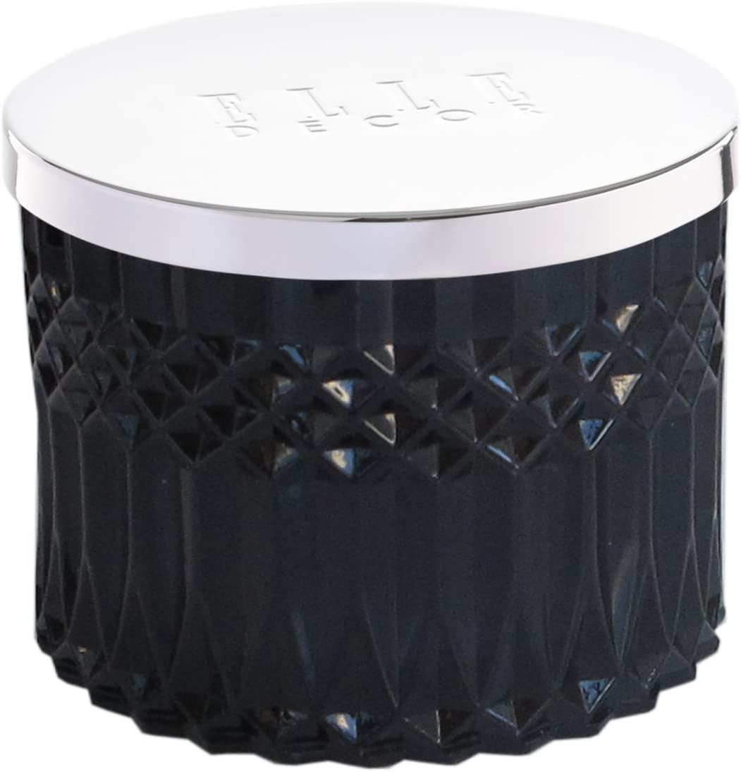 Elle Décor Faceted Crystal Glass Candle w Lid Currant, Black