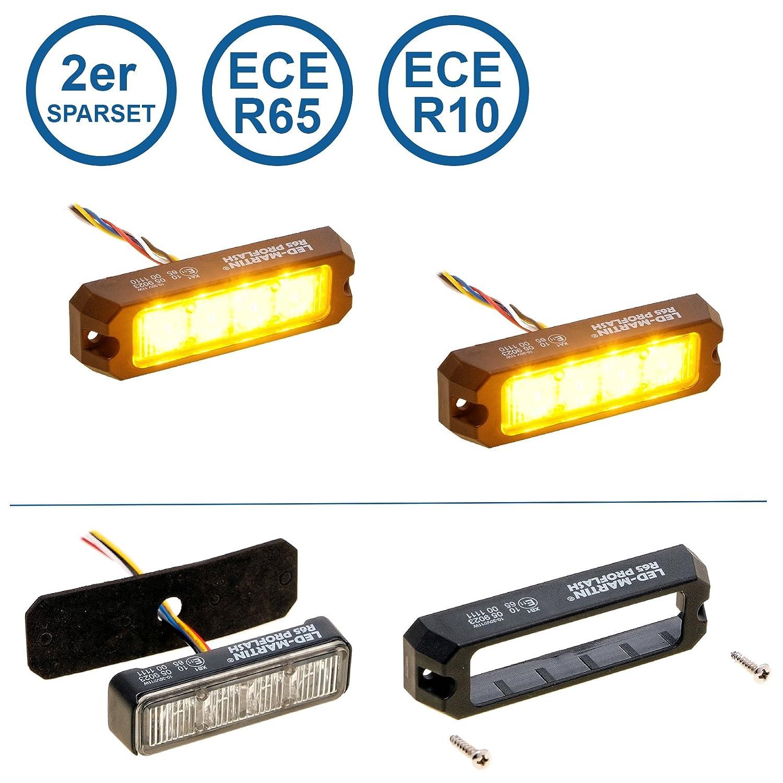 2er Sparset LED-MARTIN R65 PROFLASH gelb - Frontblitzer - Straß enrä umer -Blitzmodul - Pannendienst - Schwertransport - LKW