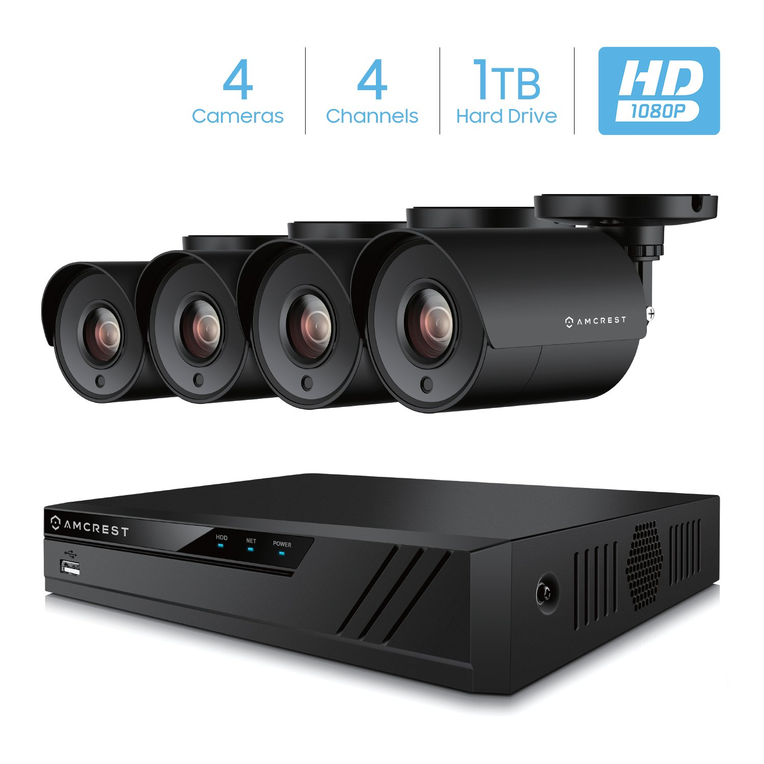 Amcrest 4CH Security Camera System Full 1080P HD-CVI Video DVR with 4X 1920TVL 2MP 1080P Indoor Outdoor Weatherproof IP67 Cameras, 1TB Hard Drive, 98ft Night Vision, for Home Business (AMDV20M4-4B-B) by Amcrest