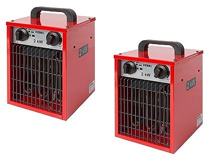 Diseño Radiador Eléctrico calefactor 2 kW como Juego de 2, función ventilador & Termostato,