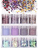 XICHEN 12 Boxes Chunky Nail Glitter Sequins Iridescent Flakes Ultrafine glitter Tips Colorful Mixed Hair Nail Art