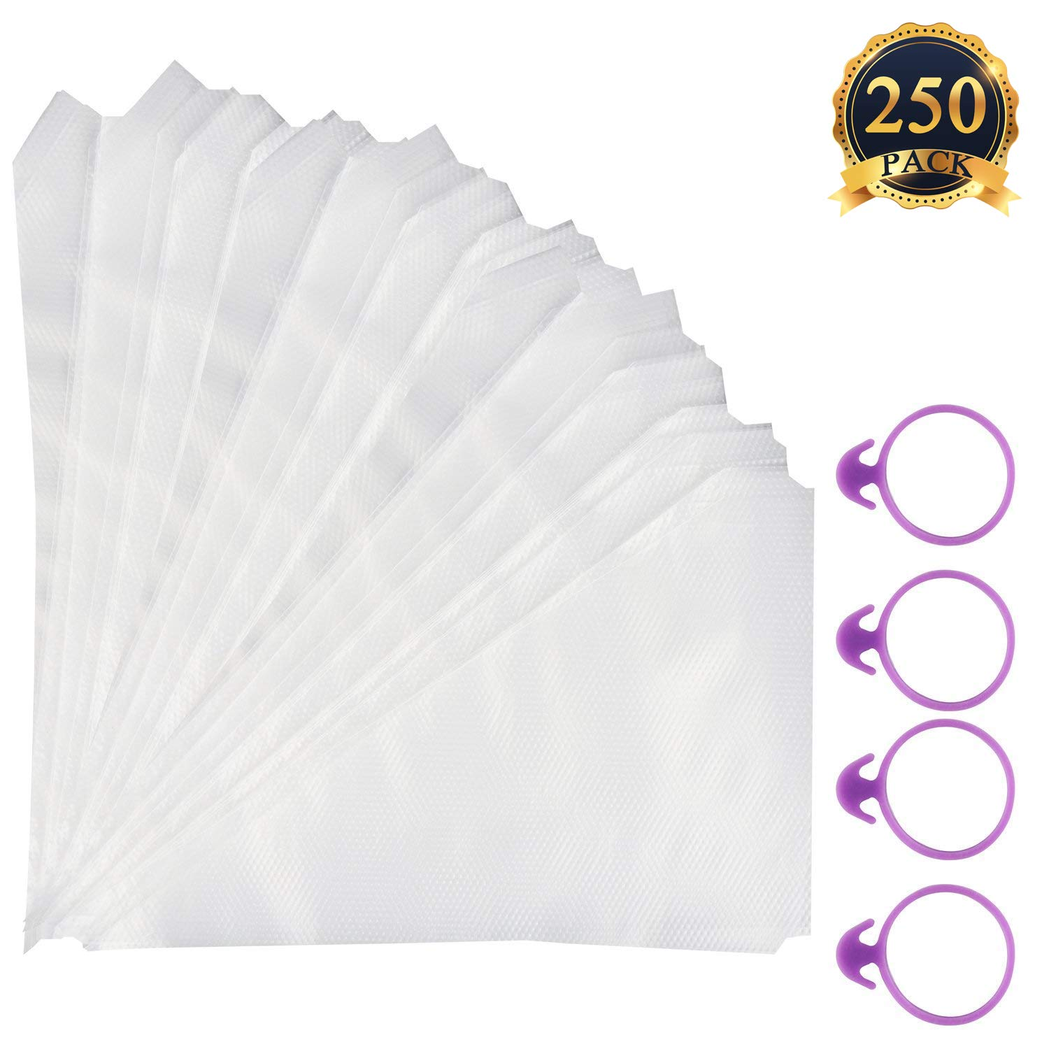 250pcs Disposable Thickened Icing Bags, Piping Bag Supplies Cake Cupcake Decorating Bags with 4 Bag ties 24 x 16cm BUBBLE
