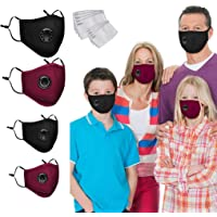 4PC Reusable Face Bandanas with Breathing Valve and Carbon Filter,Outdoor Cotton Face Covering Dustproof, Parent-Child…