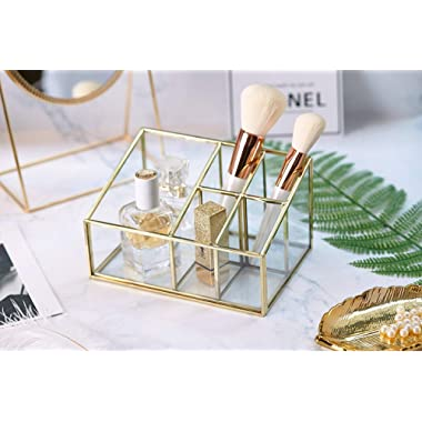 PuTwo Makeup Organizer Vintage 5 Compartments Glass & Metal Cosmetic Organizer Brass Makeup Storage for Makeup Brushes Perfume Lipsticks Nail Polish Makeup Holder for Dresser Vanity Countertop - Gold