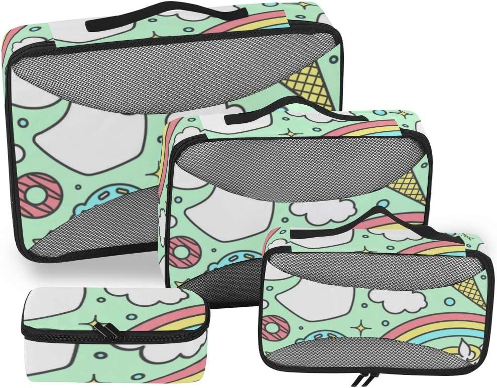 4 Set Packing Cubes Travel Luggage Packing Organizers Ice Cream Unicorn