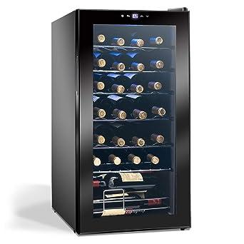 Display4top Vinoteca Nevera para vinos 28 Botellas, puerta de ...