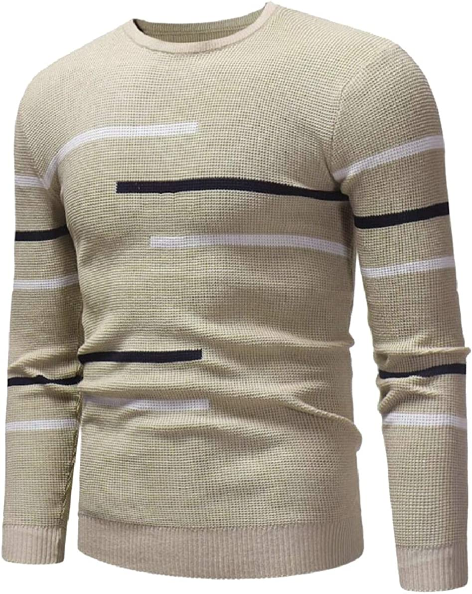 ONTBYB Mens Winter Knitwear Knitted Round Neck Autumn Leisure Pullover Sweaters