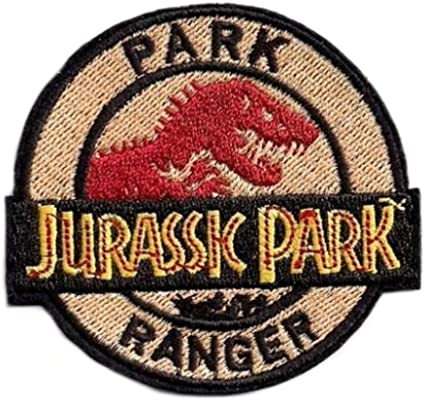 "Patches Jurassic Park Logo 4/"" Wide Embroidered Iron On Patch Set of 3"
