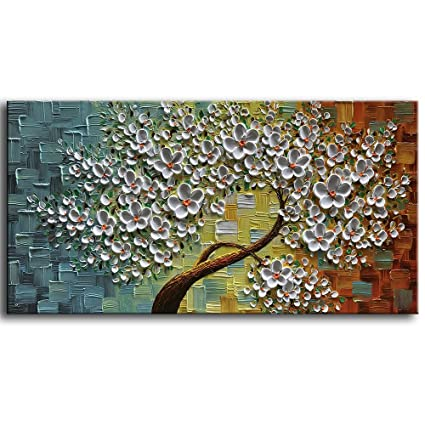 baccow Modern Canvas Paintings Texture Palette Knife Flowers Trees Paintings Home Decor Wall Art 3D Handmade  sc 1 st  Amazon.com & Amazon.com: baccow Modern Canvas Paintings Texture Palette Knife ...