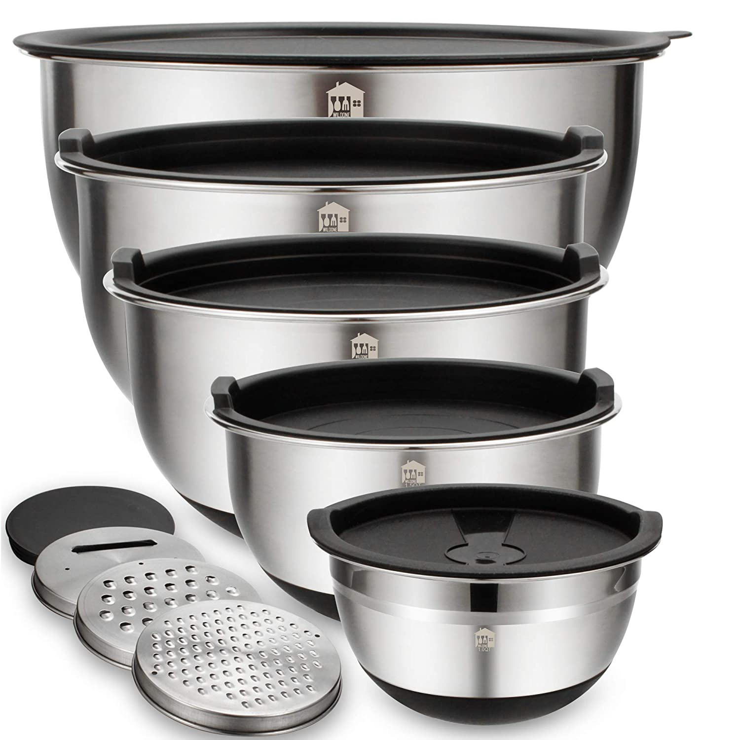 Mixing Bowls Set of 5, Wildone Stainless Steel Nesting Bowls with Airtight Lids, 3 Grater Attachments, Measurement Marks & Non-Slip Bottoms, Size 5, 3, 2, 1.5, 1QT, Great for Mixing & Serving