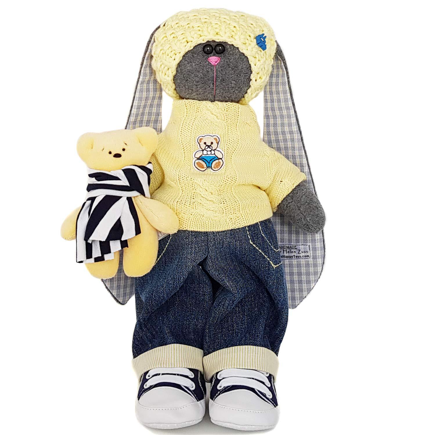 fabric doll Easter bunny handmade Stuffed rabbit 14 inch for boy