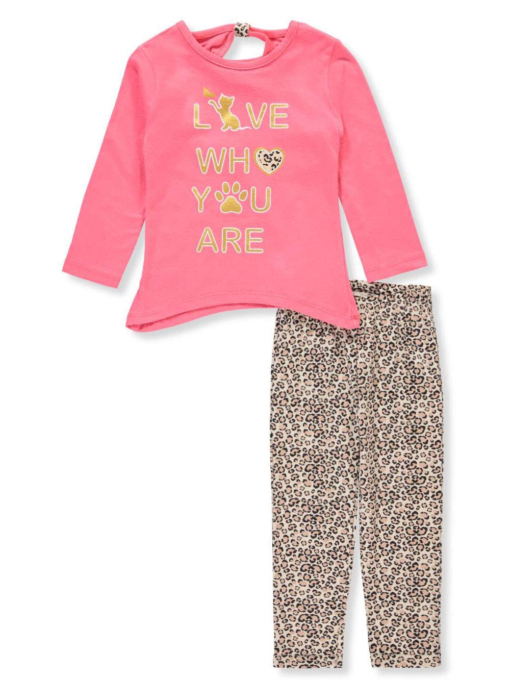 Real Love Little Girls' 2-Piece Leggings Set Outfit - Coral/Multi, 4
