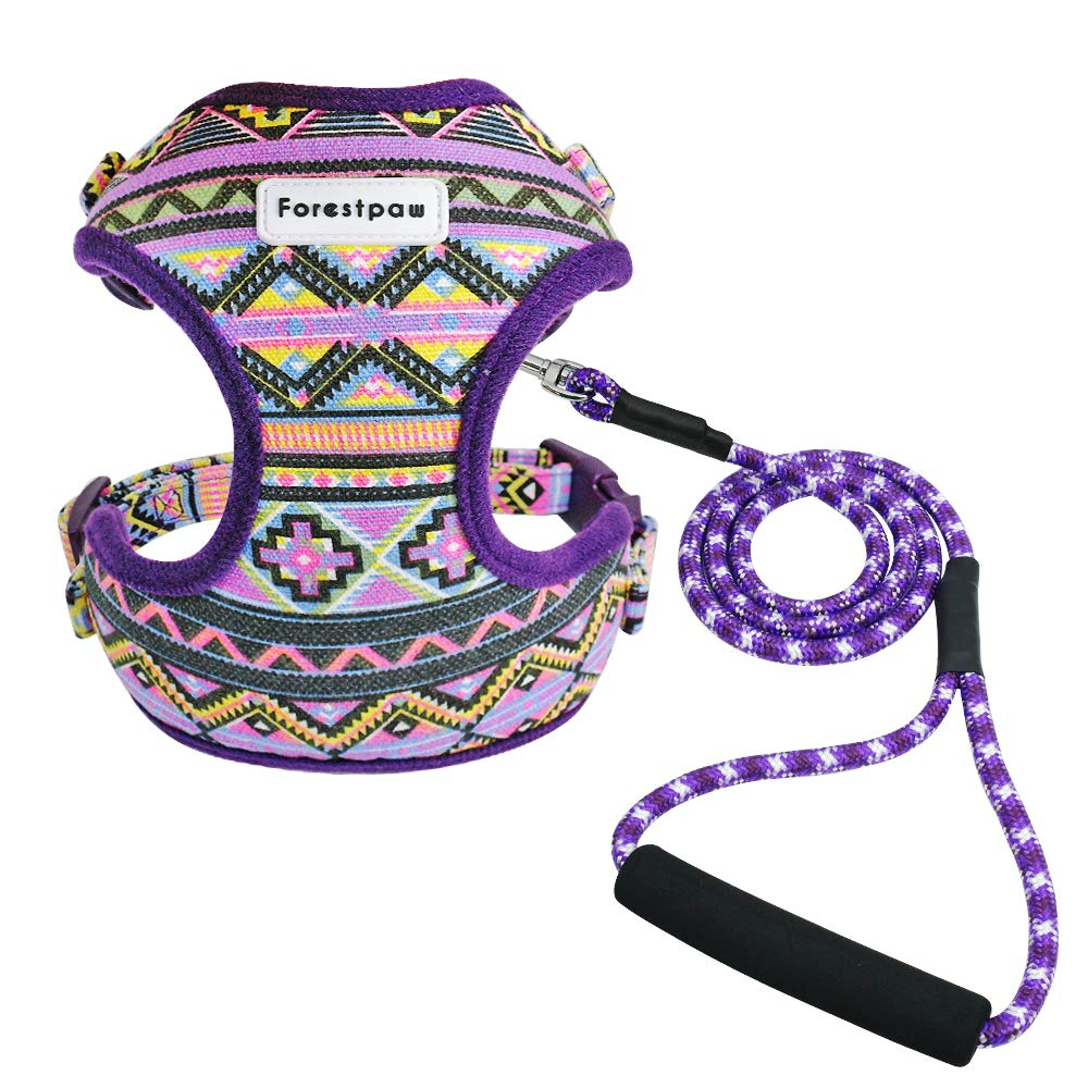 Forestpaw Multi-Colored Stylish Dog Walking Vest Harness and Leash Set- Vintage Tribal Pattern No Pull Dog Harness for Walking Small Medium Large Dogs,Purple,S