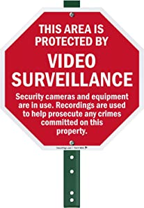 """SmartSign """"This Area Is Protected By Video Surveillance"""" LawnBoss Sign 
