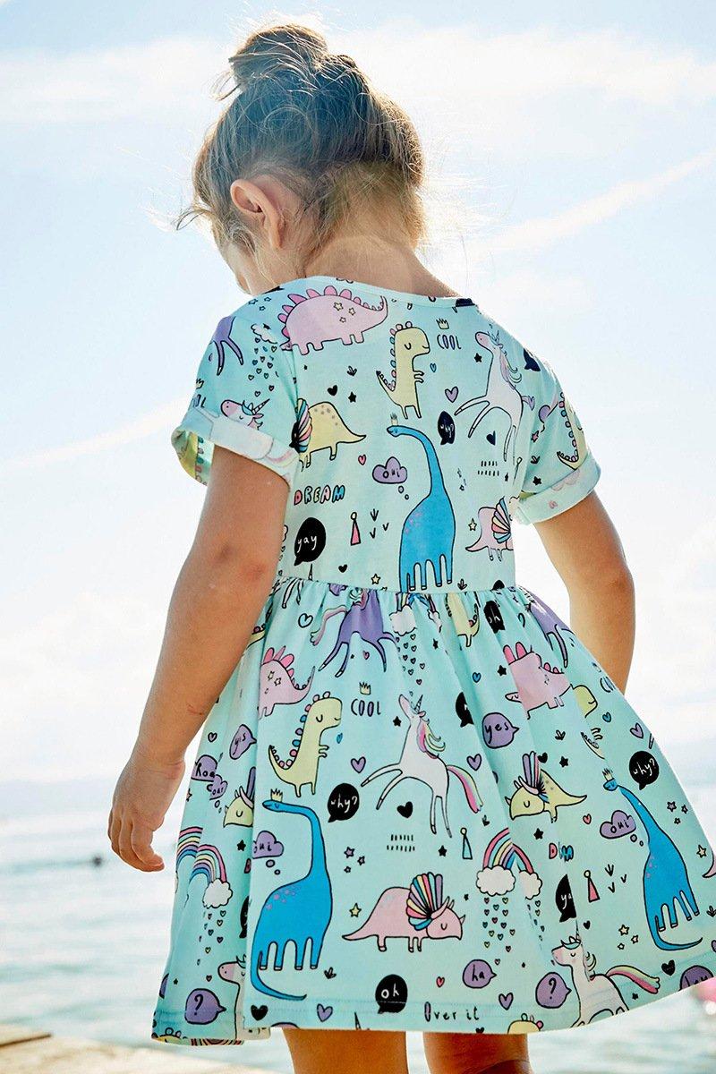 JiaYiYi Girls Dinosaur Casual Dresses Cotton Summer Short Sleeve Skirt Dress for Kids Size 2T-7T (7, Blue) by JiaYiYi (Image #4)