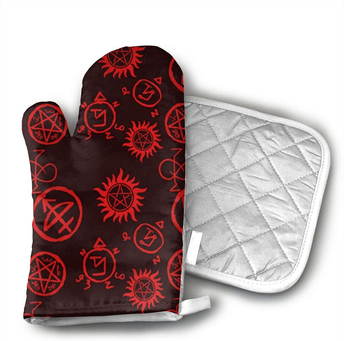 JFNNRUOP Supernatural Symbols Red Oven Mitts,with Potholders Oven Gloves,Insulated Quilted Cotton Potholders
